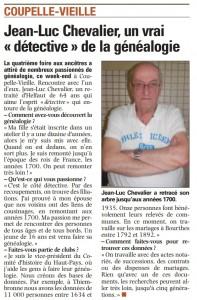 Une interview de Jean-Luc Chevalier dans la Voix du Nord du 22 mai 2014